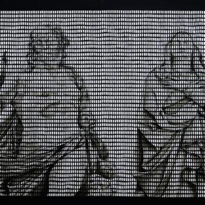 Гибель богов I, бумага, тушь, энтомологические булавки, короб – пенокартон, 200х300 см, 2014